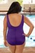 Chlorine Resistant Aquamore Purple Plus Size Scoop Neck One Piece Swimsuit
