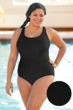 Aquatex by Aquamore Chlorine Resistant Black Plus Size Scoop Neck One Piece Textured Swimsuit