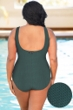 Aquamore Chlorine Resistant Hunter Plus Size Scoop Neck One Piece Textured Swimsuit