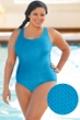 Aquamore Chlorine Resistant Plus Size Scoop Neck One Piece Textured Swimsuit