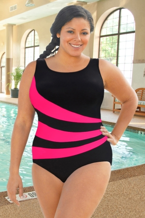 Chlorine Resistant Aquamore Pink Plus Size Spliced Color Block Scoop Neck One Piece Swimsuit