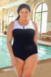 Chlorine Resistant Aquamore Black and White Color Block Plus Size Zipper Front