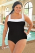 Chlorine Resistant Aquamore Black and White Plus Size Square Neck