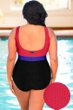 Chlorine Resistant Aquamore Textured Plus Size High Neck One Piece Swimsuit