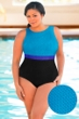 Aquamore Chlorine Resistant Color Block Plus Size High Neck One Piece Textured Swimsuit