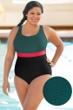 Aquamore Chlorine Resistant Color Block Plus Size Scoop Neck One Piece Textured Swimsuit