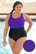 Aquamore Chlorine Resistant Purple, Azure and Black Plus Size Color Block Scoop Neck One Piece Textured Swimsuit