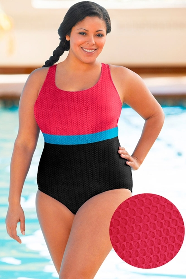 Aquatex by Aquamore Chlorine Resistant Color Block Raspberry, Sea and Black Plus Size Scoop Neck One Piece Textured Swimsuit
