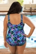Chlorine Resistant Aquamore Mai Tai Plus Size Sarong Front One Piece Swimsuit