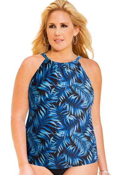 Always For Me Blue Palms Plus Size High Neck Tankini Top
