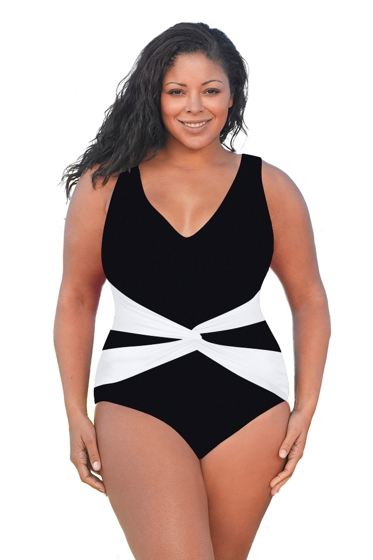Always For Me Solid Plus Size V-Neck Twist Front One Piece Swimsuit