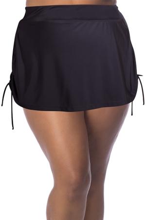 Always For Me Black Plus Size Adjustable Sides Swim Skirt