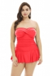 Always For Me Anguria Coral Plus Size Twist Front Bandeau Strapless Shirred Swimdress