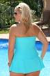Always For Me Aqua Plus Size Twist Front Bandeau One Piece Swimsuit