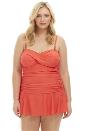 Always For Me Coral Plus Size Twist Front Bandeau One Piece Swimsuit
