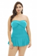 Always For Me Peacock Plus Size Twist Front Bandeau Strapless Shirred Swimdress