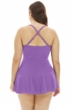 Always For Me Solid Plus Size Illusion Ring Front Shirred Swimdress