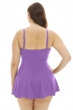 Always For Me Plus Size Illusion Ring Front Shirred Swimdress