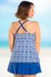 Always For Me Blue and White Plus Size Aegean Tankini Top with Matching Swim Skirt