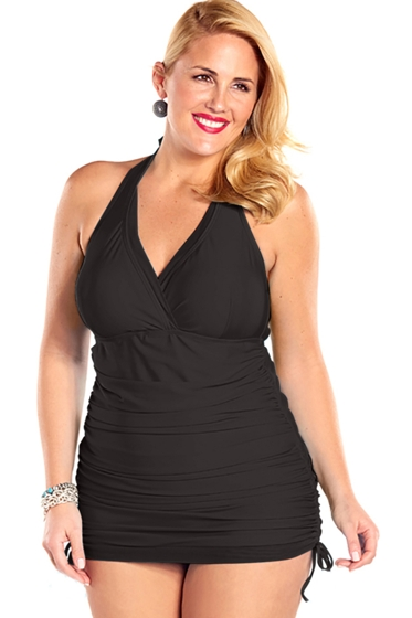 Always For Me Black Plus Size Retro Halter Swimdress