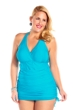 Always For Me Turquoise Plus Size Retro Halter Swimdress