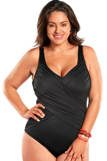 Always For Me Black Gala Plus Size Drape One Piece Swimsuit