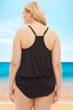 Always For Me by Fit 4U Black Plus Size Luxury Racerback Tankini Top with Matching Tankini Bottom