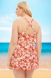 Always For Me by Fit 4U Pink Plus Size Two Piece Flutter Swimdress Set