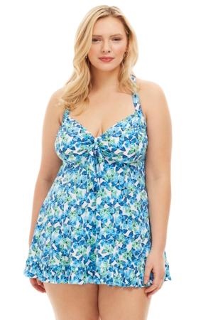 Always For Me by Fit 4U Blue Plus Size Two Piece Flutter Swimdress Set