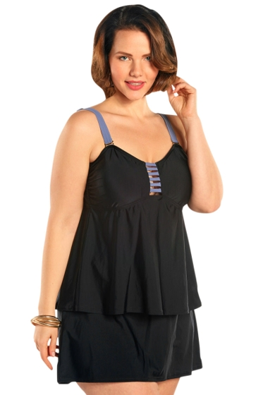Always For Me Black Plus Size Trellis Bandeau Tankini Top with Matching Tankini Bottom