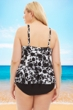 Always For Me Black and White Beach Flower Plus Size Tankini Top with Matching Tankini Bottom